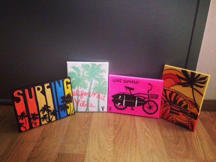 Mini art canvas surfing awesome project ideas