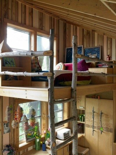 shed roof cabin with loft  Google Search  Shed roof cabins  Rustic loft Cool bunk beds Tiny