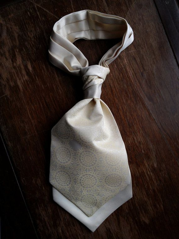 Cottage Lace ascot. Self tie mens cravat. by Cyberoptix on Etsy, $42.00