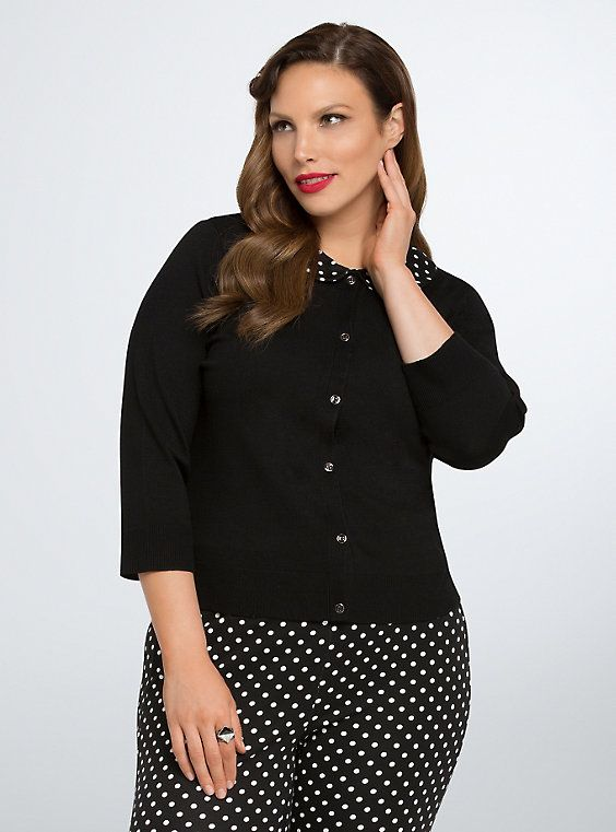 Retro Chic Polka Dot Peter Pan Cardigan, DEEP BLACK