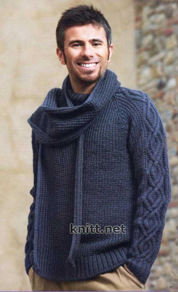 Мужской синий пуловер и шарф спицами
