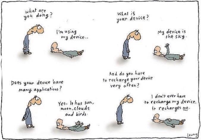 Devices: Recharge, Sky, Nature, Cartoon, Quotes, Device, Funny, Michael Leunig, Things