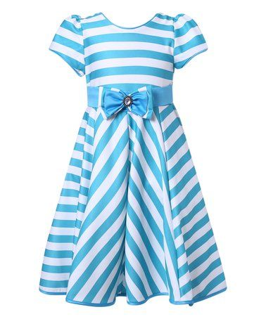 Loving this Blue Stripe Party Dress - Toddler & Girls on #zulily! #zulilyfinds