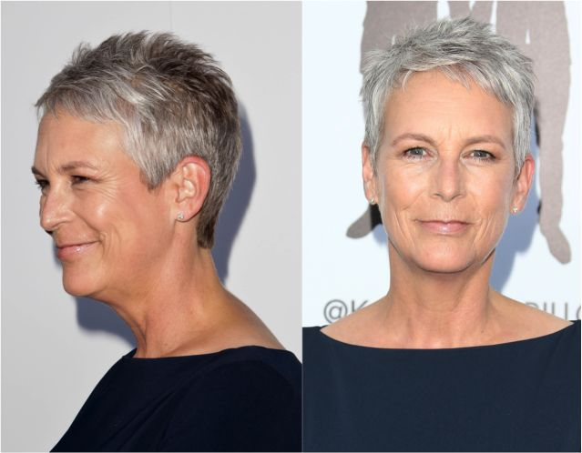20 Gorgeous Pixie Haircuts on Women Over 50: Jamie Lee Curtis in a Pixie