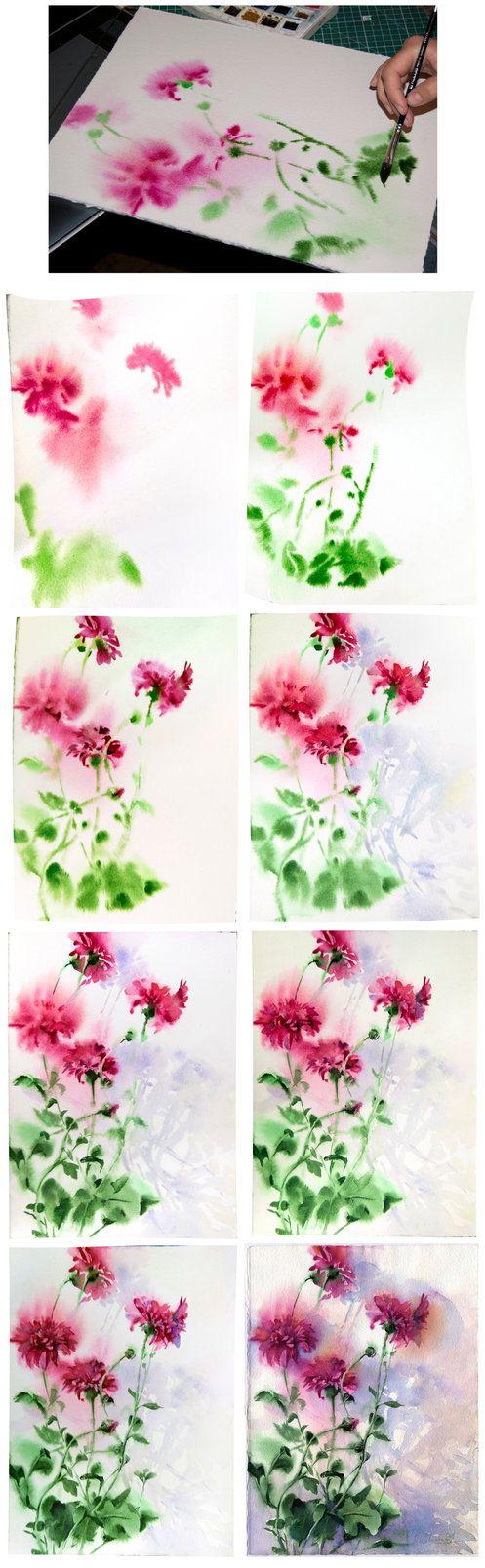 Chrysanthemum on a wet paper by OlgaSternik
