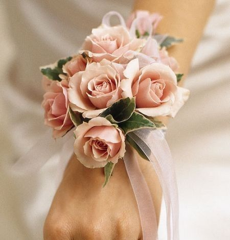 Pale Pink Spray Roses Varigated Greens With White Ribbon
