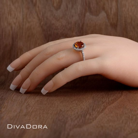 Citrine Engagement Ring in 18K Solid White Gold DR1757