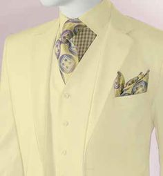 Vittorio Men's Ivory 3 Piece Suit Modern Fit T62W Size 38L Final Sale