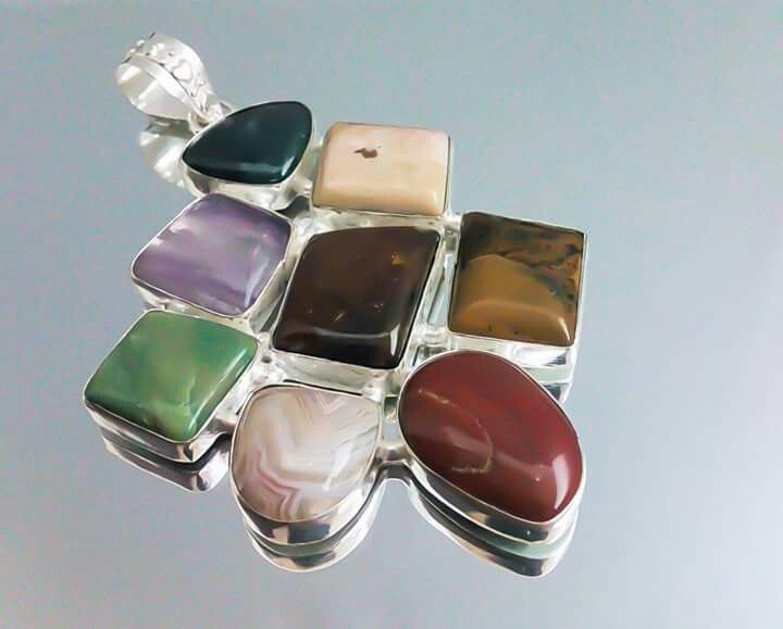 Orlov Jewellery-German silver, mix jasp