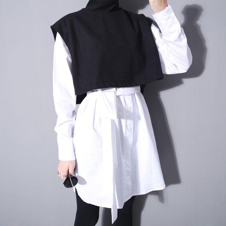 Купить товар[ Twotwinstyle ] британский стиль ложно двух частей шерстяной жилет рубашки для женщин весна и осень бантом пояс длинная блузка в категории Блузки и рубашкина AliExpress.                    Свяжитесь с нами, Если у вас есть вопрос                          1:     Если вы хотите получит