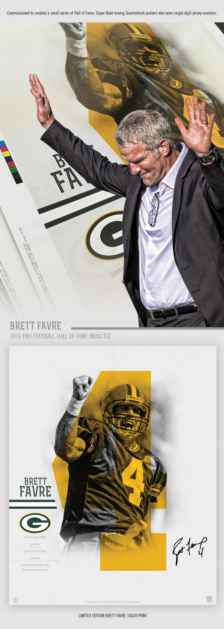 Design a 16x20 poster - Designed Three 16x20 Limited Edition Prints For Hall Of Fame Winning Quarterbacks
