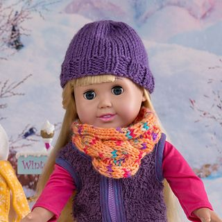 A G doll knitted beanie and cowl.