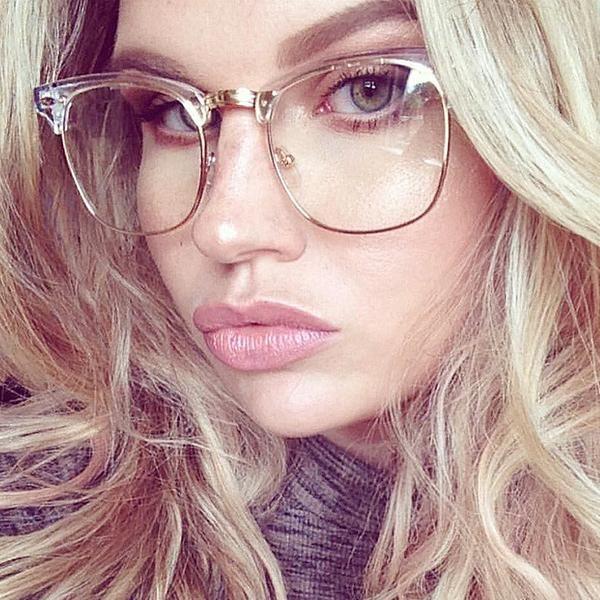 Half Frame Glasses Clear Lens