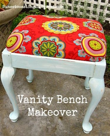 Sunset Coast: Vanity Bench DIY Furniture Paint Makeover (and Quilts!)