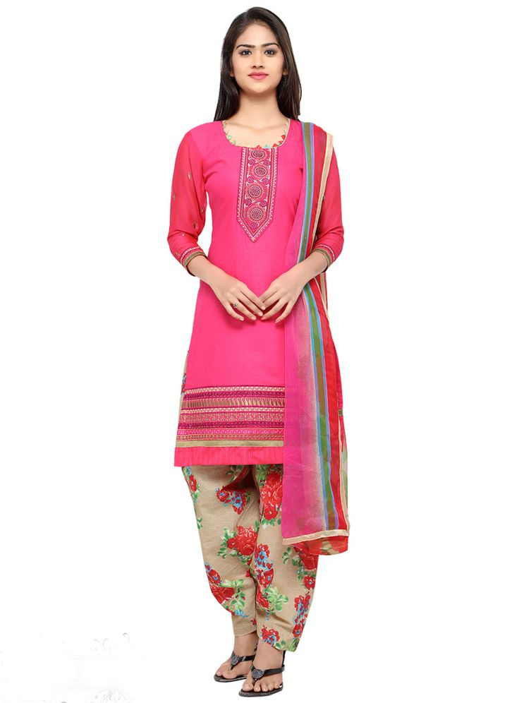 Pink Cotton Patiala Suit 88973