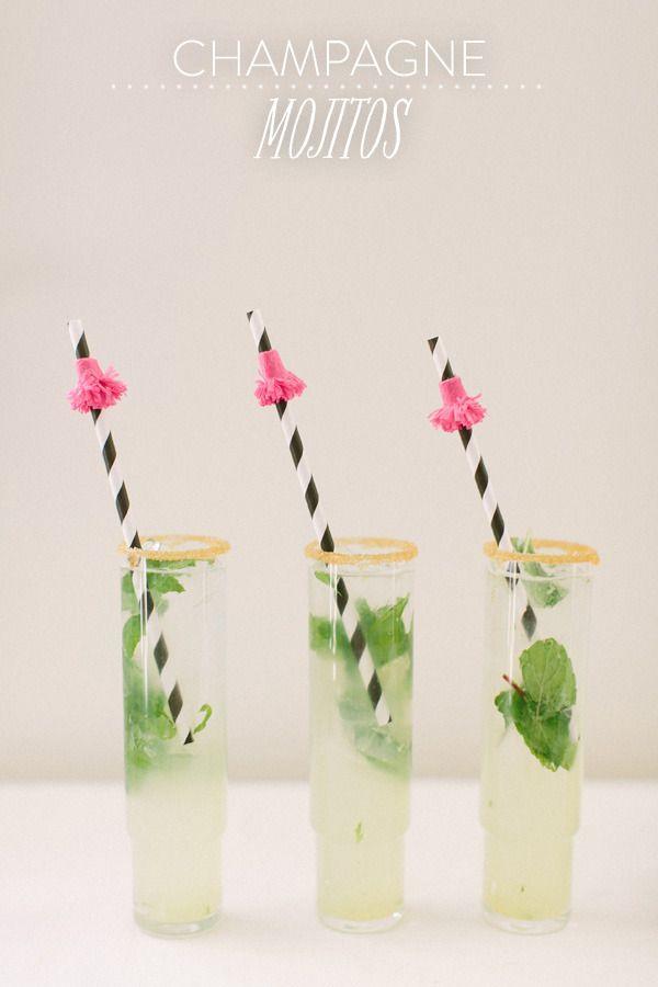Champagne Mojitos w/ fun straws!