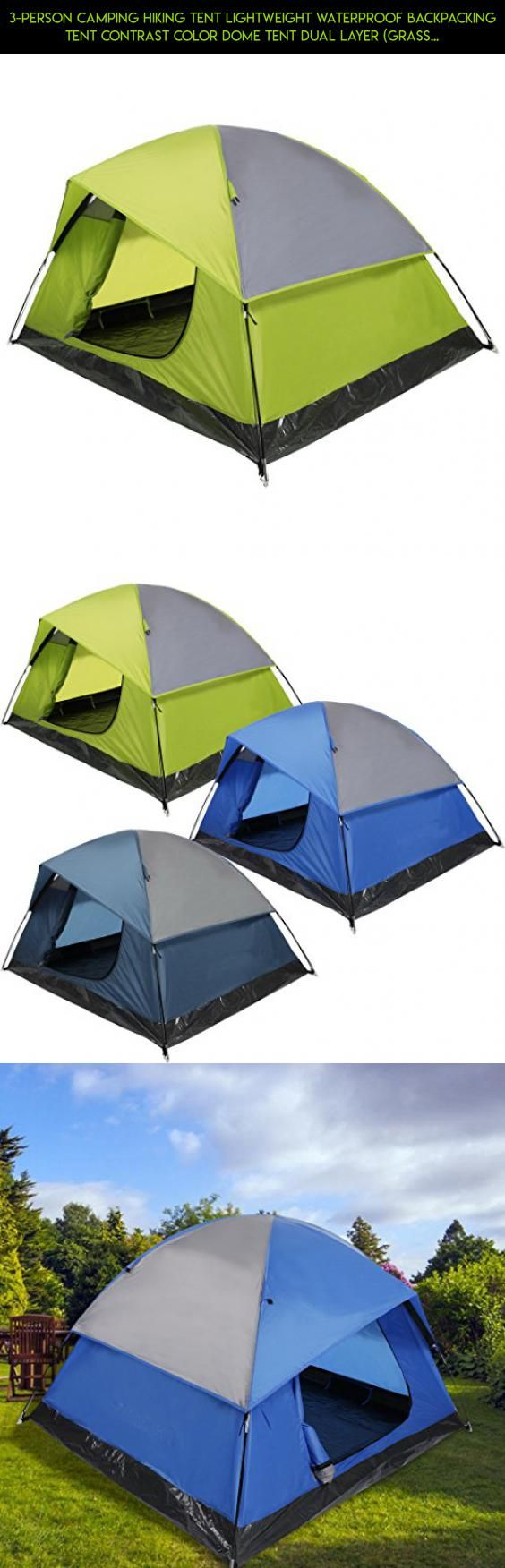 3-Person Camping Hiking Tent Lightweight Waterproof Backpacking Tent Contrast Color Dome Tent Dual Layer (grass green) #cube #fpv #kit #gadgets #racing #camera #shopping #products #parts #tech #drone #organizer #technology #8 #plans #storage