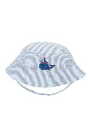 Blue stripe baby boy's nautical sun hat