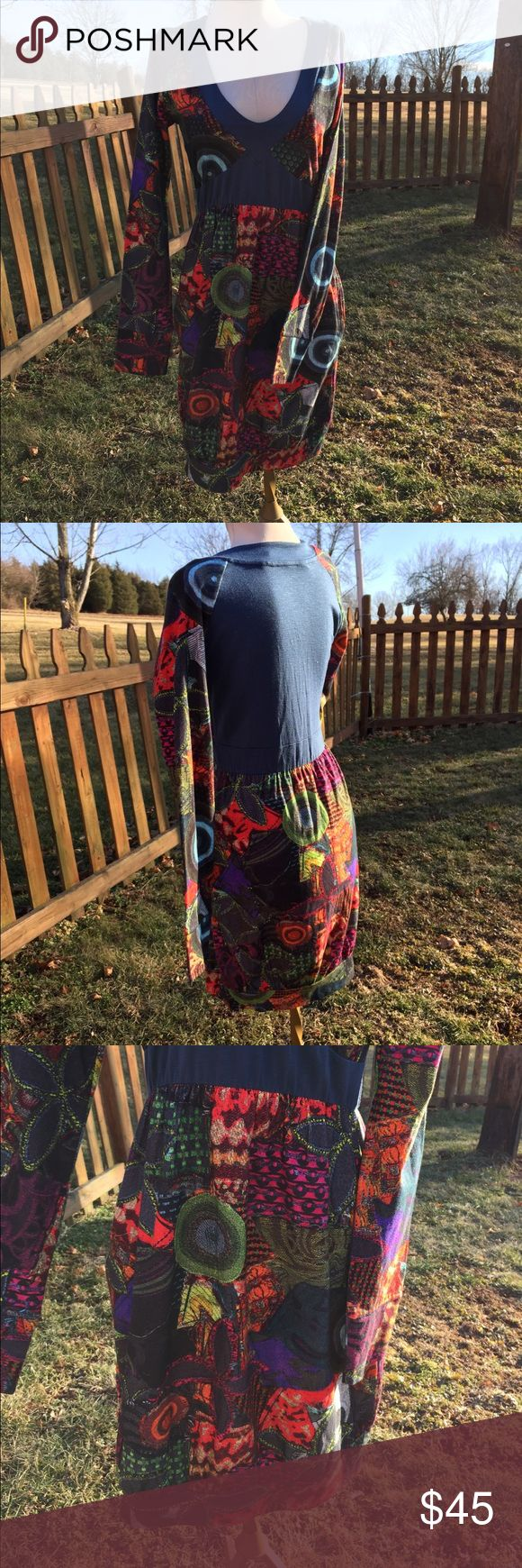 """Desigual Boho Abstract Colorful Dress M Cute super soft cotton , viscose, spandex blend fabric.  Bright abstract pattern on a slate blue. Stated size m. Bust up to 37"""". Length from shoulder to bottom 35@. Pockets on side seam skirt of dress. Excellent clean condition. Desigual Dresses"""