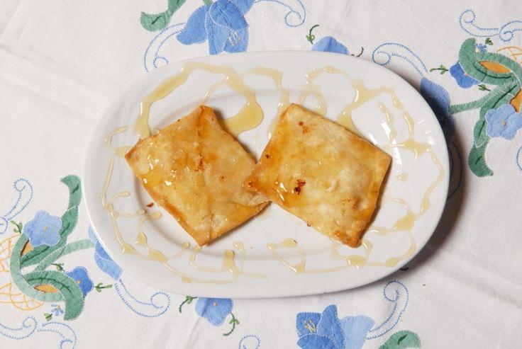"""Κατιμέρια - """"Katimeria"""" from Kos.Pies made with sugar, flour, honey, salt, lemon, water, butter, olive oil."""