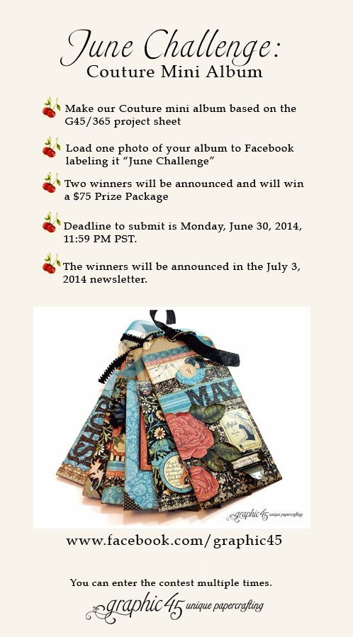 GRAPHIC 45 PRESENTS A JUNE CHALLENGE & COUTURE PROJECT SHEETS...