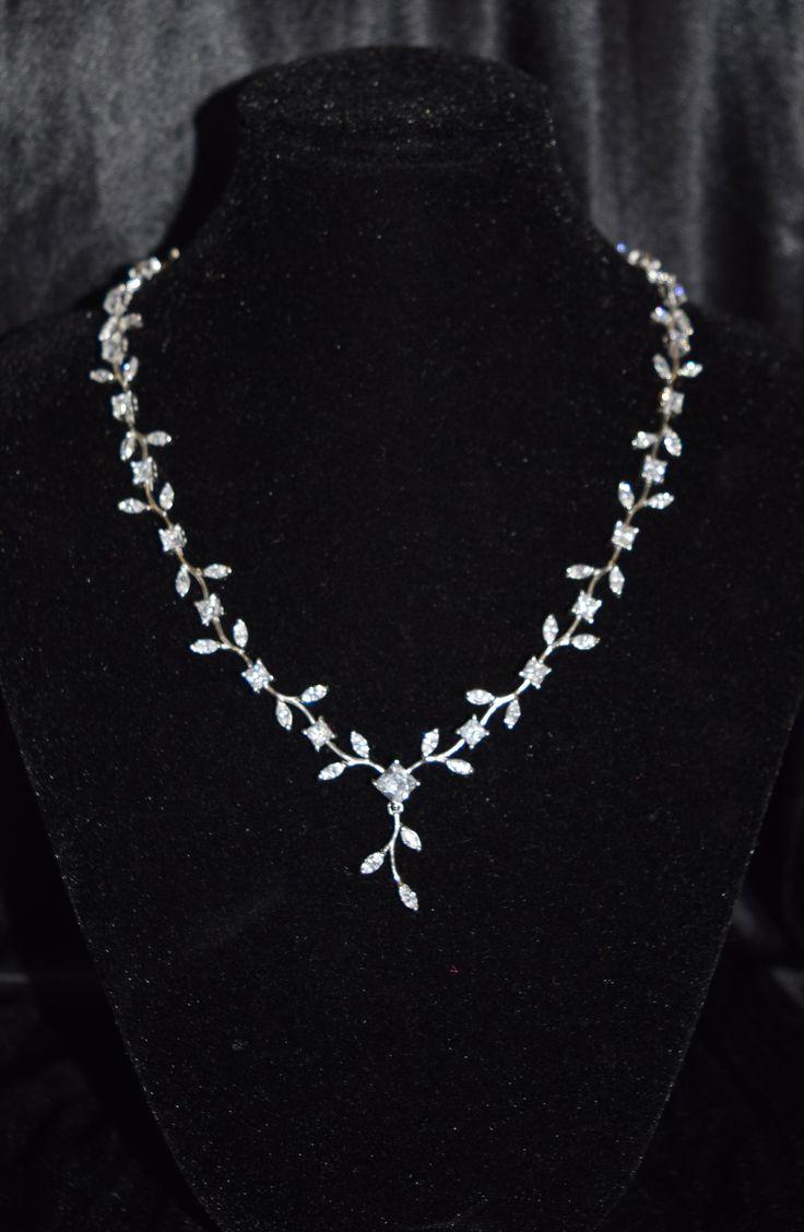 Silver & Cupic Zirconia Floral Necklace