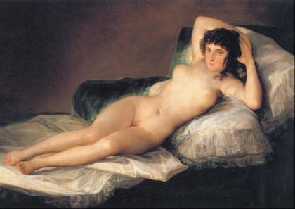La maja desnuda. Obra realizada por Goya en el año 1800 y perteneciente al neoclasicismo.   En esta obra todo lo que vemos tiene un marcado acento sensual. La postura de la mujer, la mirada, la seda donde está recostada...