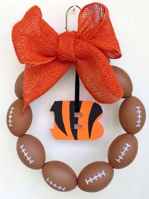 Cincinnati Bengals Burlap Football Wreath by NTgoodthings on Etsy
