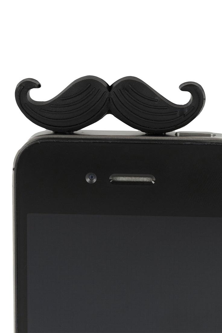 moustache phone charm