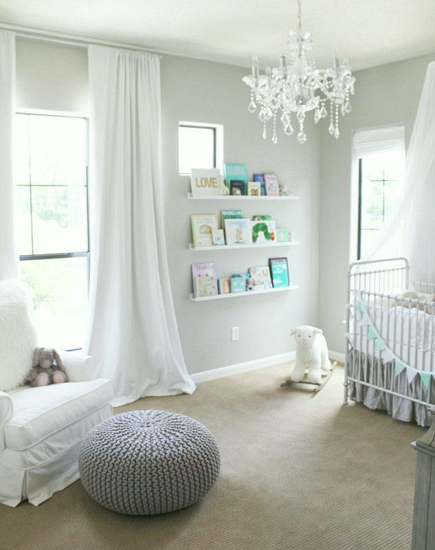 Benjamin Moore No Fail Paint Colors | Bedrooms | part II - laurel home | pale gray walls in this chic nursery | http://veronabrit.blogspot.com/2013/06/harpers-nursery-reveal.html  Best Benjamin Moore Paint Colors - Veronica says that this is Revere Pewter