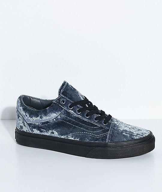 44ff4527afc Vans Old Skool Velvet Grey   Black Skate Shoes