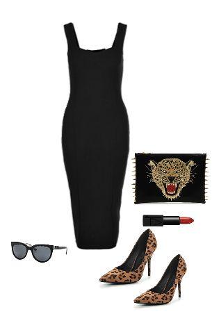 Платье-футляр и леопардовые туфли,  fashion look