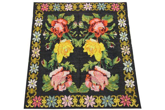 Beautiful Moldovan Floral Kilim Rug 45 x 41 Feet by kilimwarehouse
