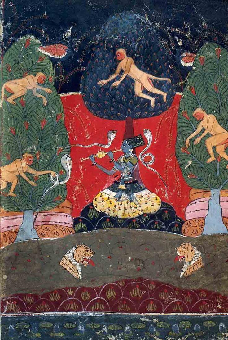 Asavari Ragini. Illustration from a Ragamala (Garland of Melodies) Series. Opaque watercolor and gold on paper, Malwa, c. 1640-1660, Fogg Art Museum, Harvard University Museum