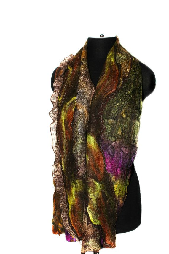 This scarf reserved for Karen! Please, do not buy it. Thank you!    Handmade nuno felted scarf.  Great texture, earthy colors, luxury materials.