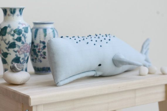 Adorable stuffed whale blue interior decor by dearblueberryshop, €18.00