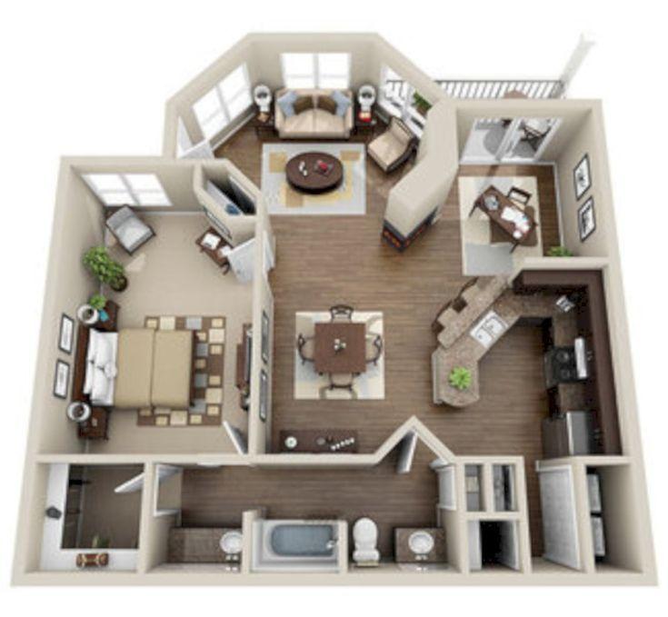 awesome 40 Stylish Studio Apartment Floor Plans Ideas – #apartment #awesome #Flo…