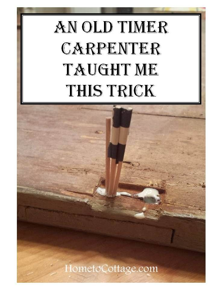 HometoCottage.com Old Carpenter Trick to reset screw holes in old wood