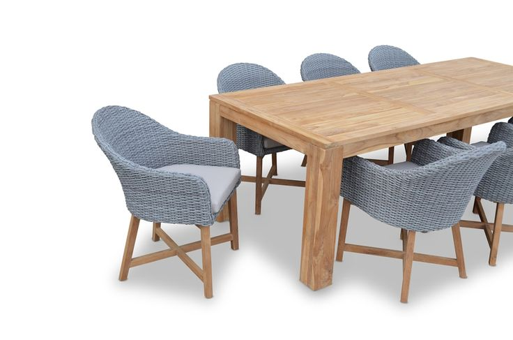 Bay Gallery Furniture Store - ENTERTAINER 2.5m Teak Outdoor Table with 8 Coastal Wicker Dining Chairs, $3,199.00 (http://www.baygallery.com.au/whats-new/entertainer-2-5m-teak-outdoor-table-with-8-coastal-wicker-dining-chairs/)