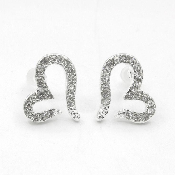 Heart Stud Earring For Women Silver Plated Earings Crystal Zircon Rhinestone Love Statement Charm Ladies Fashion Ear Jewelry