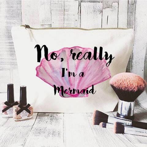 Mermaid makeup bag- Cosmetic bag- Unique gift- Toiletry bag- large cosmetic bag- Inspirational quote- Personalised cosmetic bag-Quote bag by JustBeBohoCollective on Etsy https://www.etsy.com/listing/292205185/mermaid-makeup-bag-cosmetic-bag-unique