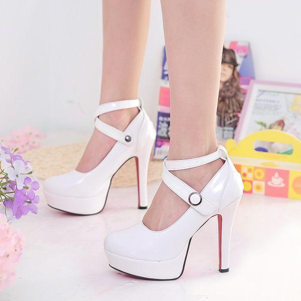 Туфли на высоком каблуке женские туфли принцесса засов туфли на высоком каблуке одного туфли белый тонкие каблуки