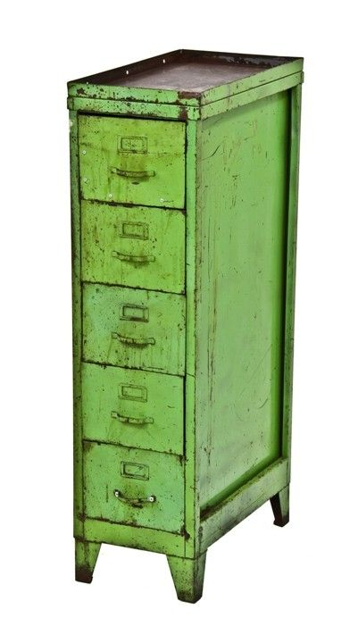 Urban Remains Chicago :: nicely worn and weathered vintage industrial distressed lime green factory machine manual freestanding filing cabinet