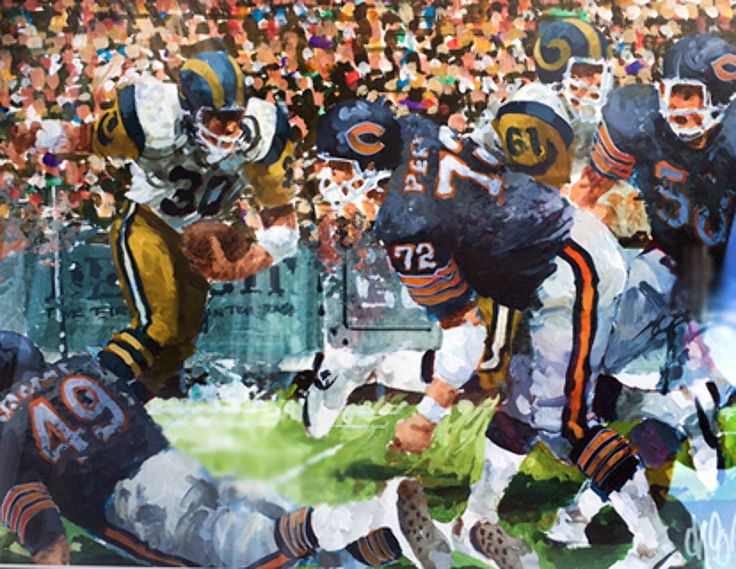 """""""Chicago Bears NFC Championship Game"""" watercolor by Wayland Moore, 1986"""