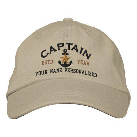 d979dd444349a Personalized Captain Nautical Star Anchor Embroidered Baseball Hat   truckershats  baseballcaps  graduationcaps  monogram  quotes  maga