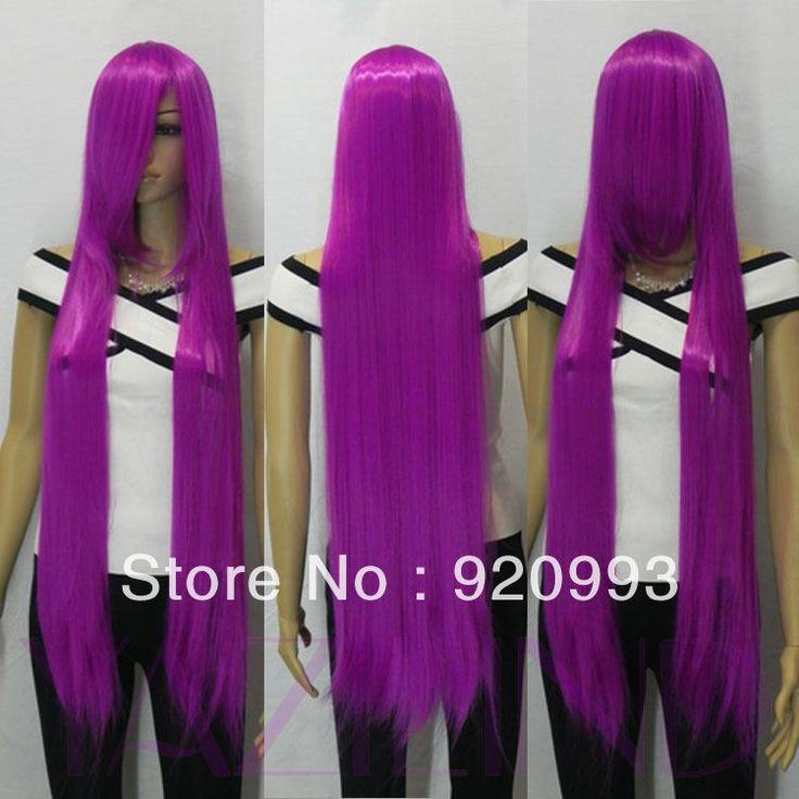 Фиолетовый рампы удары длинные прямые косплей карнавальные костюмы женщин парик волос моде новый горячий