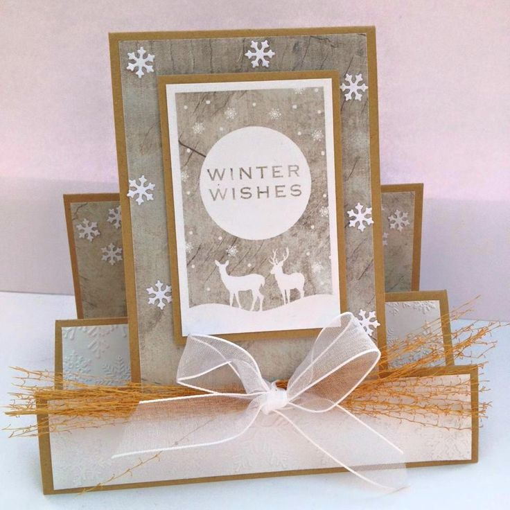 Created by Nicky Gilburt for Craftwork Cards using Frozen Forest collection, turning a 6x6inch square card blank into a centre stepper card