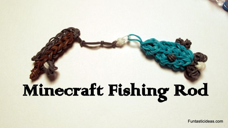 Minecraft Fishing Rod charm -How to  Rainbow Loom - Minecraft Series (+p...