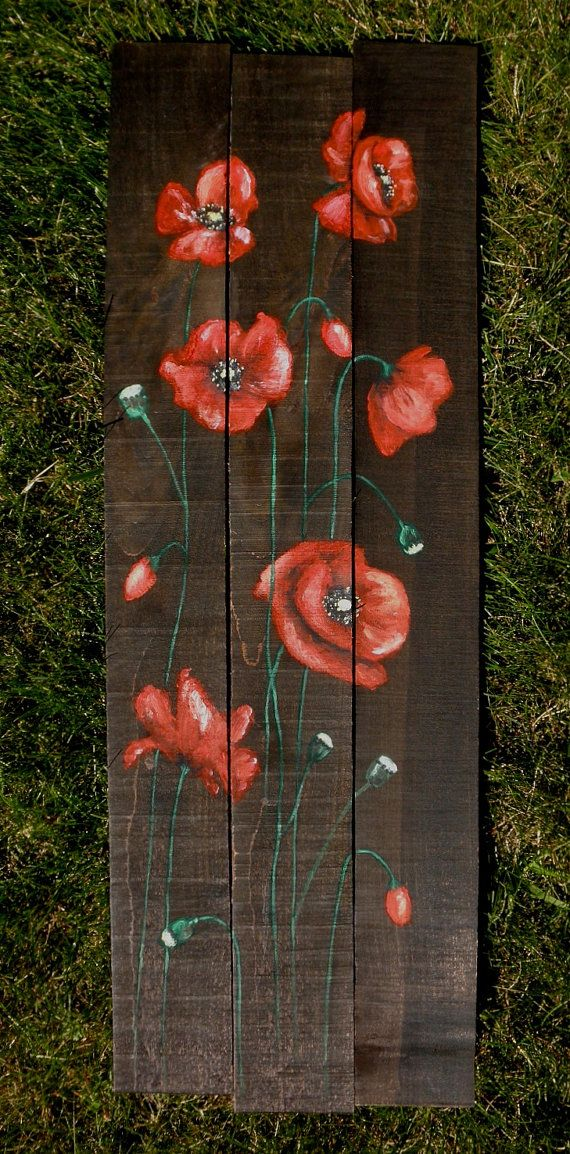 Amazing painted poppies on upcycled pallet wood. Beautiful work on esty!