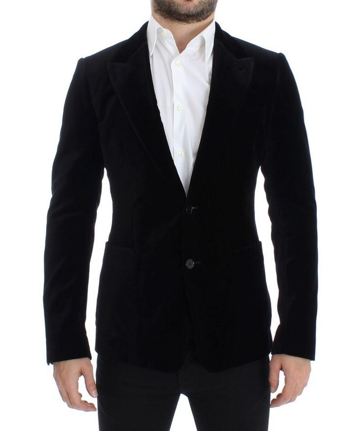 Black velvet slim fit blazer